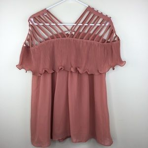 Entro Strappy Shoulder Pleated Blouse Medium Lined